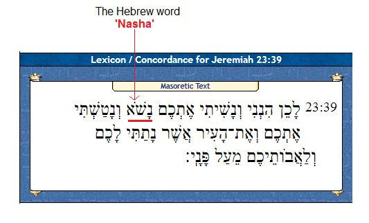 Hebrew word Nasha for Jeremiah 23 39