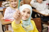 Muslim student girl, in class