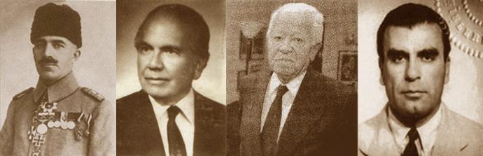 Behiç Erkin, Selahattin Ülkümen, Namık Kemal Yolga and Necdet Kent