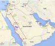 Red area is the Hejaz region.