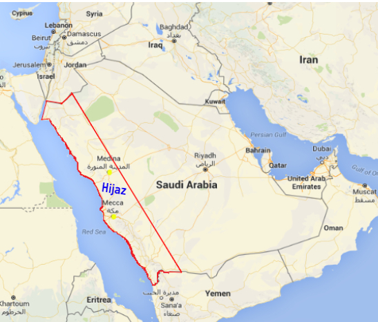 Red area is the Hejaz region.