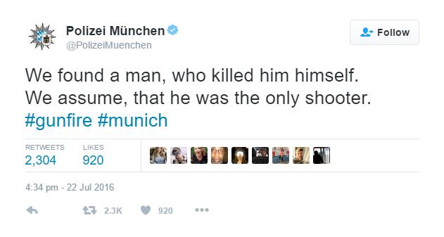 Screenshot/credit Munich's Police Twitter account , Polizei München